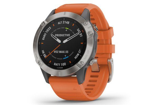 Large image of Garmin Fenix 6 Sapphire Titanium With Ember Orange Band GPS Multisport Smartwatch - 010-02158-13