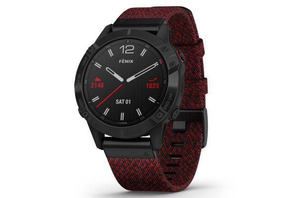 Garmin Fenix 6 Sapphire Black DLC With Heathered Red Nylon Band GPS Multisport Smartwatch - 010-02158-16