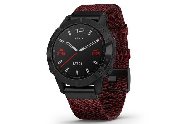 Large image of Garmin Fenix 6 Sapphire Black DLC With Heathered Red Nylon Band GPS Multisport Smartwatch - 010-02158-16