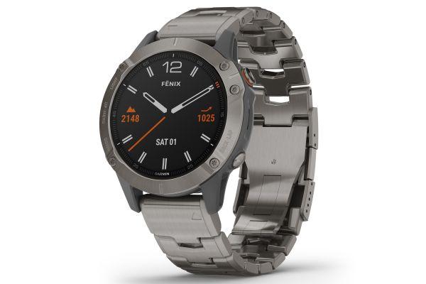 Large image of Garmin Fenix 6 Sapphire Titanium With Vented Titanium Bracelet GPS Multisport Smartwatch - 010-02158-22