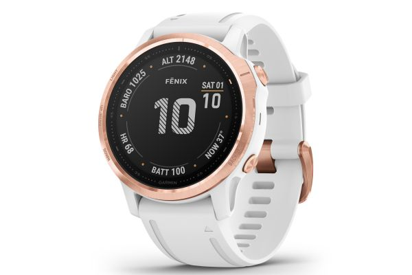 Large image of Garmin Fenix 6S Pro Rose Gold-Tone With White Band GPS Multisport Smartwatch - 010-02159-10