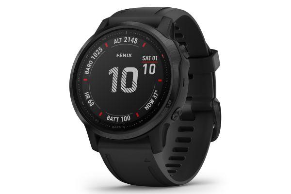 Large image of Garmin Fenix 6S Pro Black With Black Band GPS Multisport Smartwatch - 010-02159-13