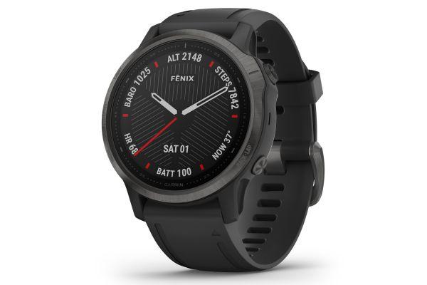 Large image of Garmin Fenix 6S Sapphire Carbon Gray DLC With Black Band GPS Multisport Smartwatch - 010-02159-24