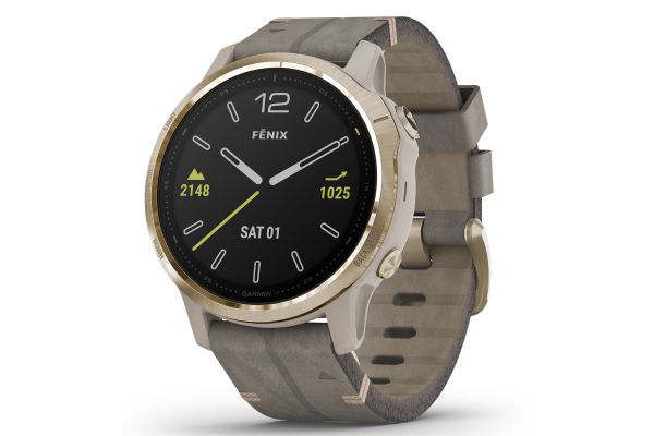 Large image of Garmin Fenix 6S Sapphire Light Gold-Tone With Shale Gray Leather Band GPS Multisport Smartwatch - 010-02159-39