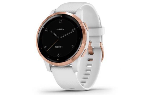 Large image of Garmin vivoactive 4S White Case With Rose Gold Stainless Steel Bezel Smartwatch - 010-02172-21