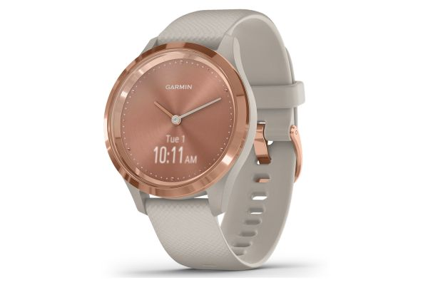 Large image of Garmin vivomove 3S Rose Gold Stainless Steel Bezel With Light Sand Case And Silicone Band Smartwatch - 010-02238-02
