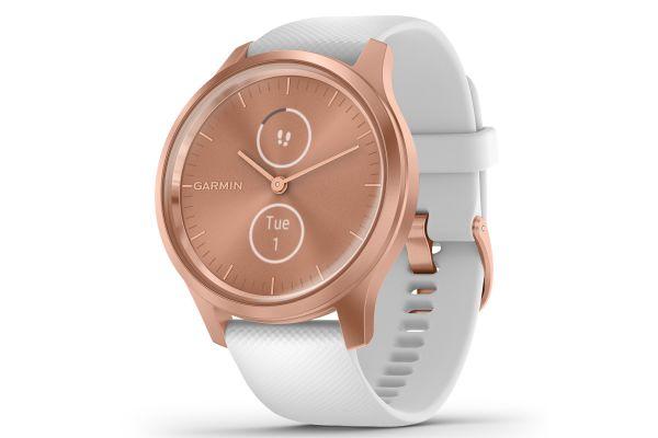 Large image of Garmin vivomove Style Rose Gold Aluminum Case With White Silicone Band Smartwatch - 010-02240-00