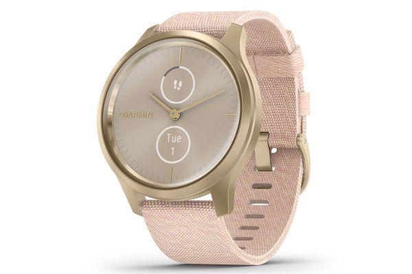 Large image of Garmin vivomove Style Light Gold Aluminum Case With Blush Pink Woven Nylon Band Smartwatch - 010-02240-02