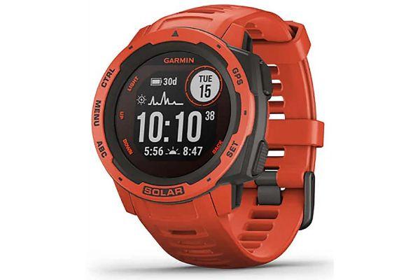 Large image of Garmin Instinct Solar Flame Red GPS Watch - 010-02293-21