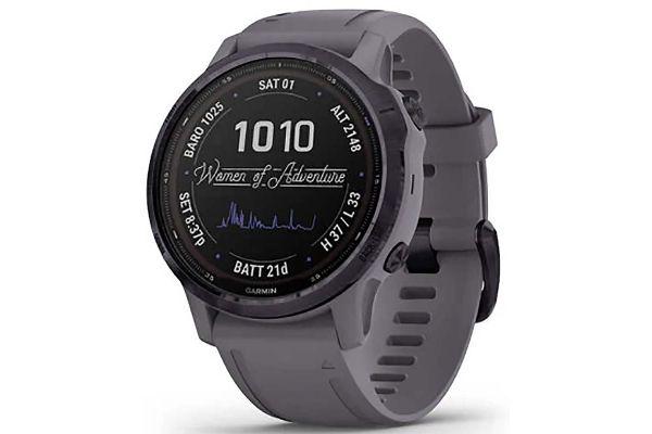 Large image of Garmin Fenix 6S Pro Solar Edition Amethyst Steel With Shale Gray Band GPS Multisport Smartwatch - 010-02409-14