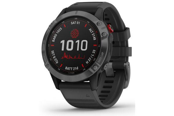Large image of Garmin Fenix 6 Pro Solar Slate Gray With Black Band GPS Multisport Smartwatch - 010-02410-14