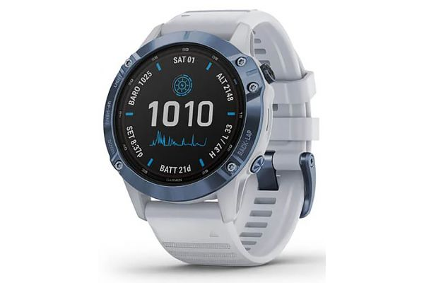 Large image of Garmin Fenix 6 Pro Series Solar Edition Mineral Blue Titanium With Whitestone Band Smartwatch - 010-02410-18