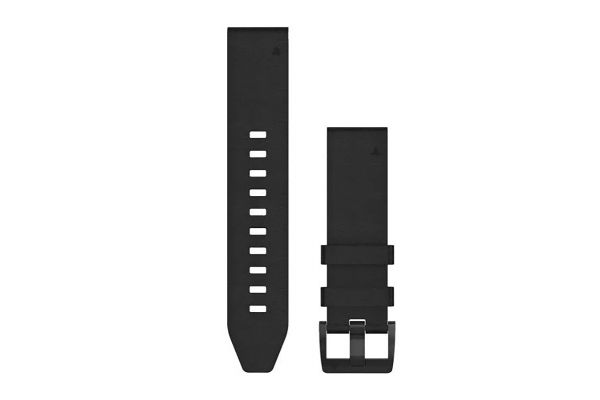 Large image of Garmin Quickfit 22 Black Leather Watch Band - 010-12740-01