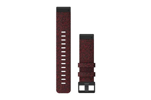Large image of Garmin Quickfit 22 Heather Red Nylon Watch Band - 010-12863-06