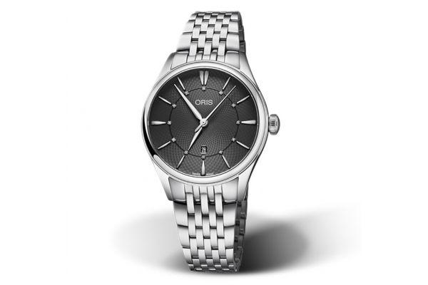 Large image of Oris Artelier Date Diamonds Stainless Steel Womens Watch - 01561772440530781779