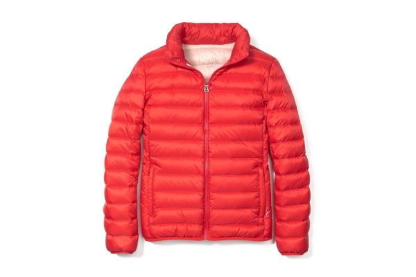 Large image of TUMI Pax Outerwear Medium Bright Red Clairmont Packable Travel Puffer Womens Jacket - 95623-2238