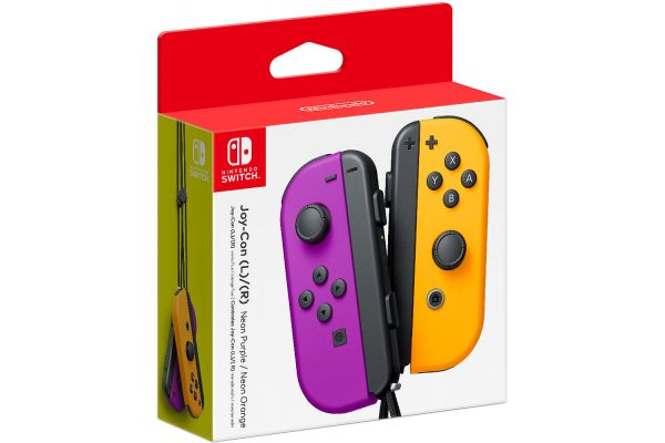 Nintendo Switch Neon Purple & Neon Orange Joy-Con Controllers - 045496882228