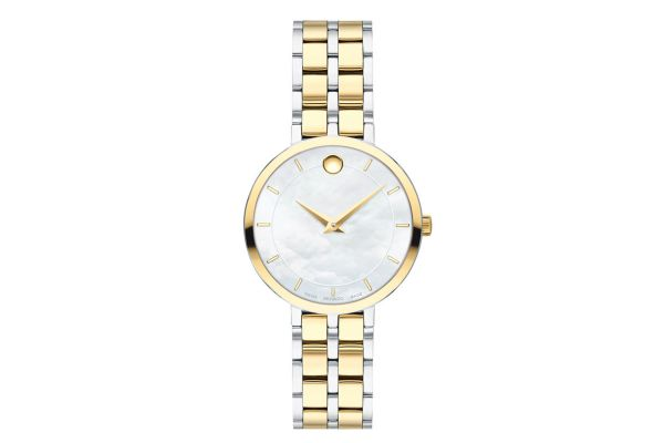 Large image of Movado Kora 28mm Two-Tone Watch, White MOP Dial - 0607323