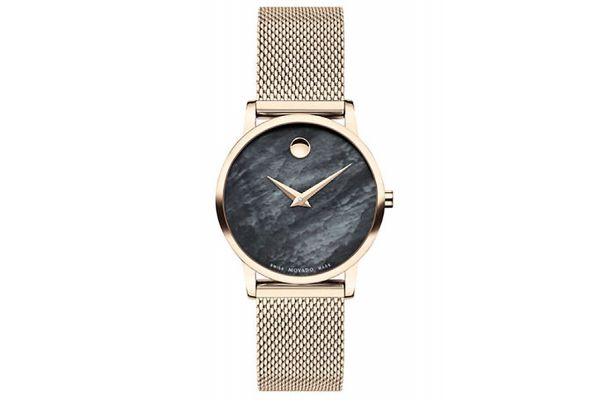 Large image of Movado Museum Classic 28mm Pale Rose Gold Stainless Steel Watch - 0607426