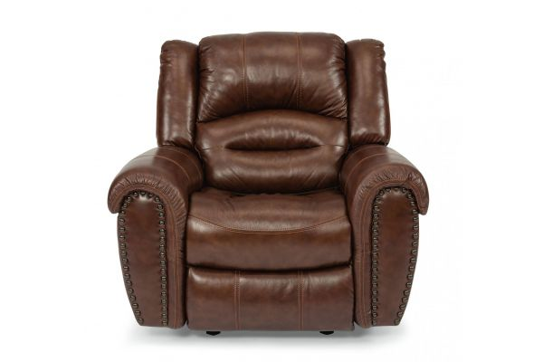 Large image of Flexsteel Town Camel Leather Recliner - 1010-50-048-54