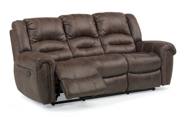 Large image of Flexsteel Town Sable Fabric Reclining Sofa - 1010-62-349-70