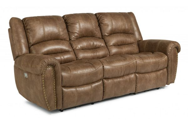 Large image of Flexsteel Town Silt Fabric Power Reclining Sofa With Power Headrests - 1010-62PH-349-72
