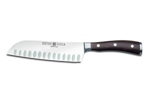 """Large image of Wusthof Ikon 7"""" Blackwood Hollow Edge Santoku Knife - 1010531317"""