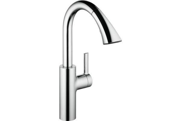 KWC Saros Chrome Single-Lever Mixer with Pull-Down Spray Kitchen Faucet - 10.181.002.000