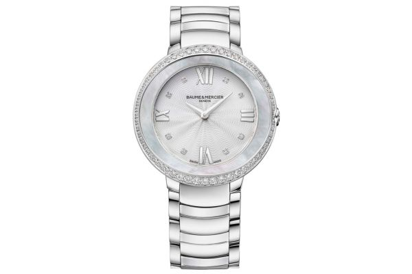 Large image of Baume & Mercier Promesse Stainless Steel Watch, Silver Dial, 34.4mm - 10199