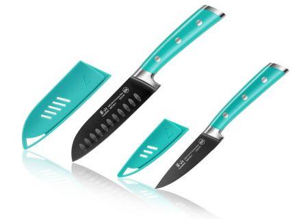 Cangshan S Plus Series French Teal 2-Piece Santoku Knife Set - 1022117