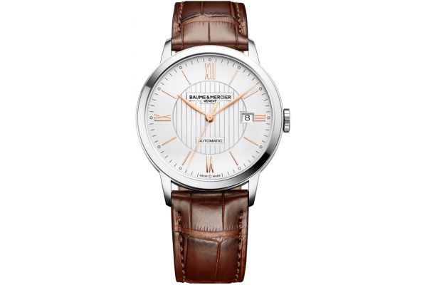Large image of Baume & Mercier 40mm Classima Brown Leather Mens Watch - 10263
