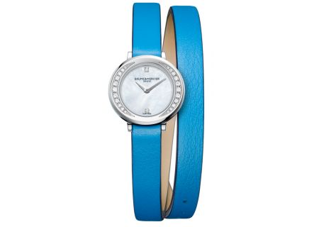 Baume & Mercier Promesse 22mm Stainless Steel And Blue Leather Womens Watch - 10288