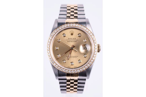 Large image of Rolex Oyster Perpetual Datejust 36mm Two-Tone Champagne Dial Pre-Owned Mens Watch - 10300