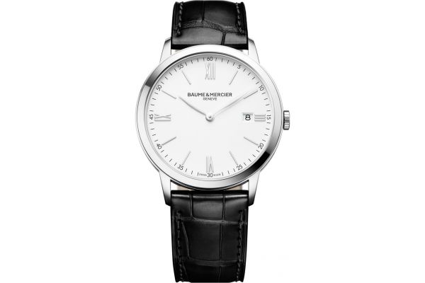 Large image of Baume & Mercier Classima 40mm Stainless Steel And Black Leather Mens Watch - 10323