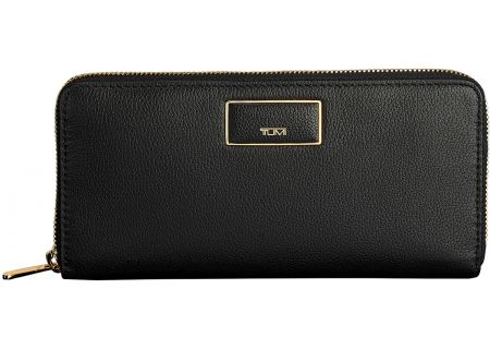 Tumi Belden Zip-Around Continental Black Leather Wallet - 1034071041