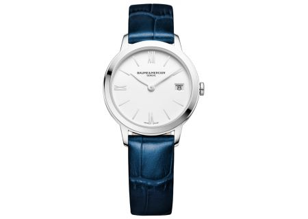 Baume & Mercier Classima 31mm Stainless Steel And Blue Leather Womens Watch - 10353