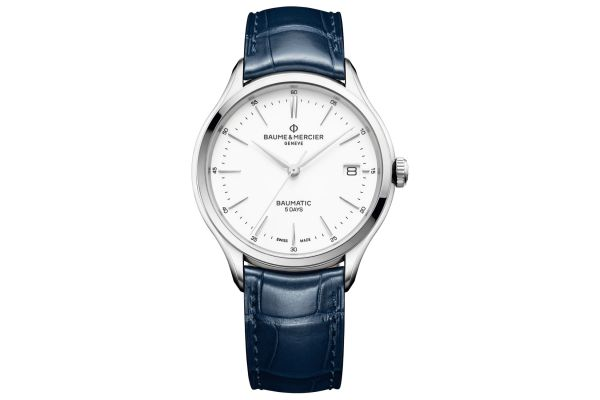 Large image of Baume & Mercier Clifton Baumatic 40mm Stainless Steel And Blue Leather Mens Watch - 10398