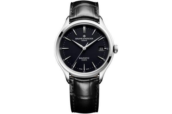 Large image of Baume & Mercier 40mm Clifton Baumatic Black Mens Watch - 10399
