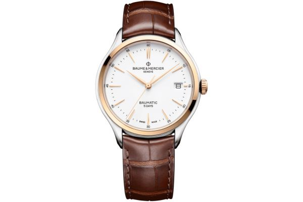 Large image of Baume & Mercier Clifton Baumatic 40mm White Dial Mens Watch - 10401
