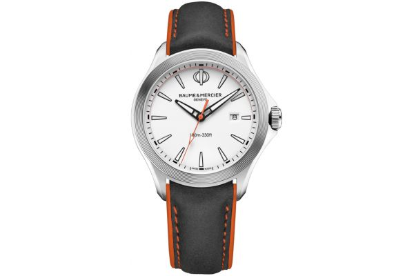 Large image of Baume & Mercier 42mm Clifton White Dial Mens Watch - 10410