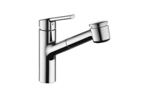 Large image of KWC Luna-E Chrome Single-Lever Mixer With Pull-Out Spray Kitchen Faucet - 10.441.033.000