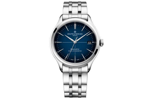 Large image of Baume & Mercier Clifton Baumatic 40mm Blue Dial Mens Watch - 10468