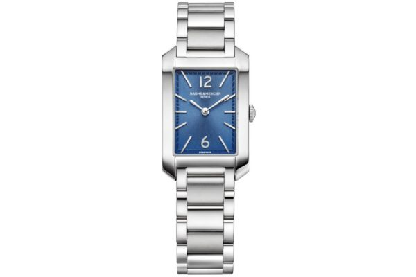 Large image of Baume & Mercier Hampton Polished Steel Bracelet Watch, Blue Dial - 10476