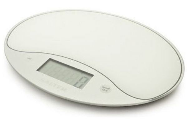 Large image of Salter White Ultra Thin Glass Digital Kitchen Scale - 1053WHT
