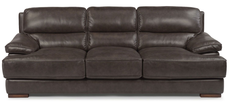 Flexsteel Jade Dark Brown Leather Sofa