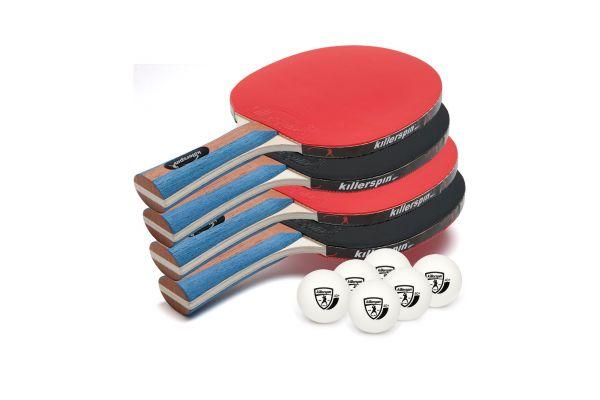 Large image of Killerspin JET SET 4 Premium Table Tennis Paddle Set with 6 Balls - 112-02