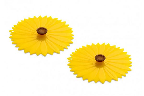 "Charles Viancin 4"" Set of 2 Sunflower Silicone Drink Covers - 1125C"