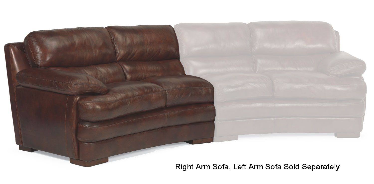 Flexsteel Dylan Brown Leather Right Arm Conversation Sofa 1127 326 908 72