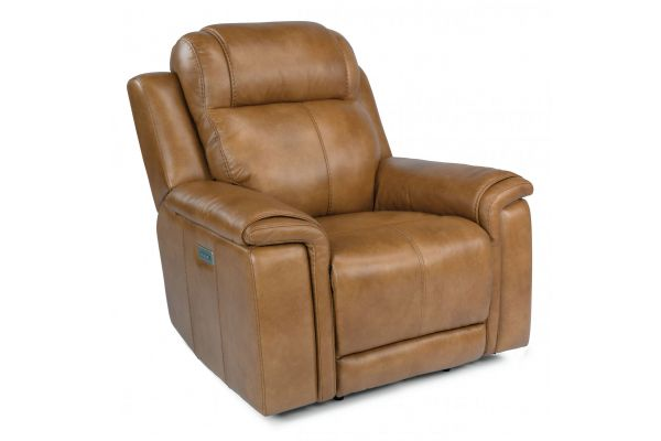 Large image of Flexsteel Kingsley Leather Power Recliner With Power Headrest - 1128-50PH-295-72