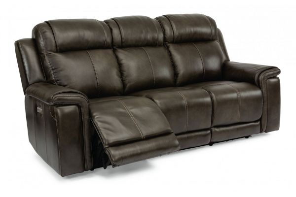 Large image of Flexsteel Kingsley Leather Power Reclining Sofa With Power Headrests - 1128-62PH-295-02